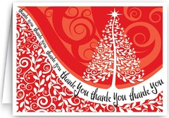 Front of a Red Christmas Thank You Card